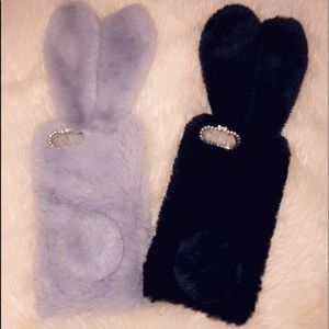 iphone 7/8 plus soft faux fur bunny phone case